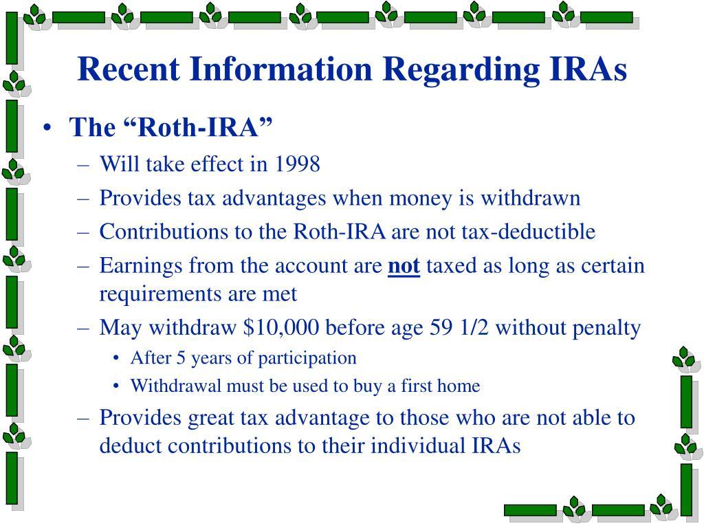 Recent Information Regarding IRAs