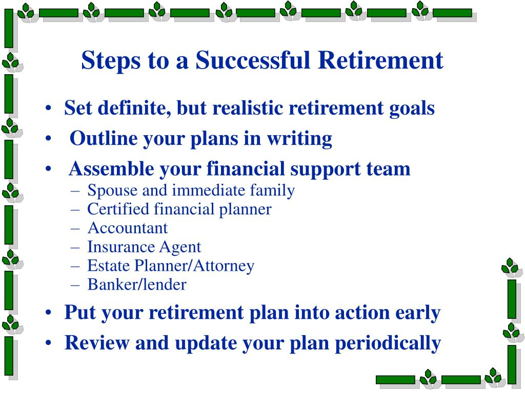 Steps to a Successful Retirement