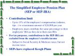 the simplified employee pension plan sep or sep ira