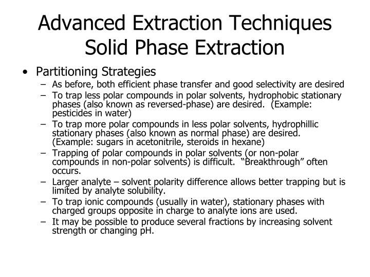 Advanced Extraction Techniques