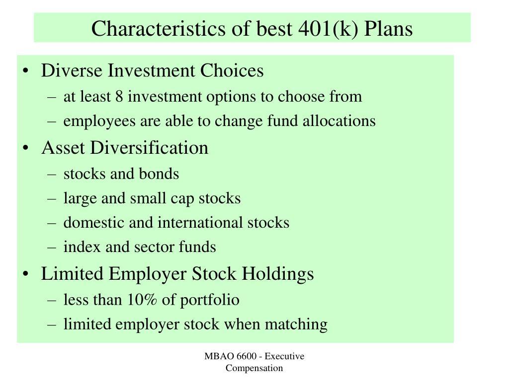 Characteristics of best 401(k) Plans