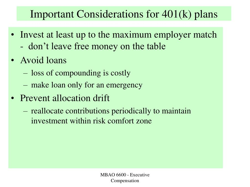 Important Considerations for 401(k) plans