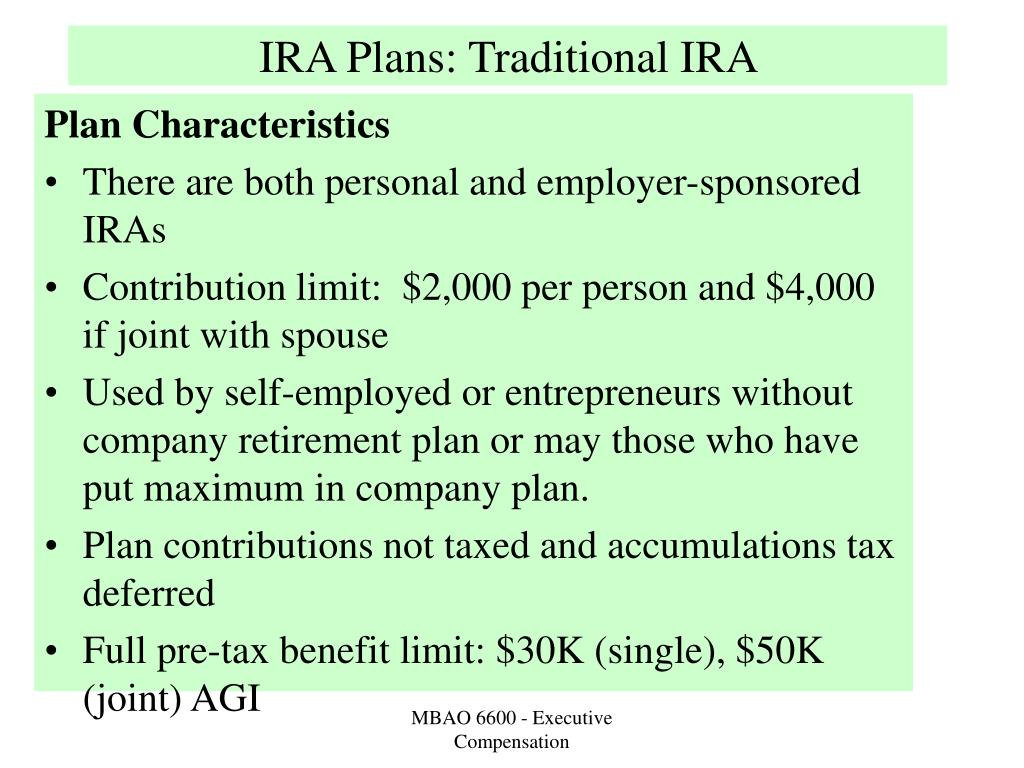 IRA Plans: Traditional IRA