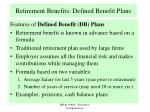 retirement benefits defined benefit plans