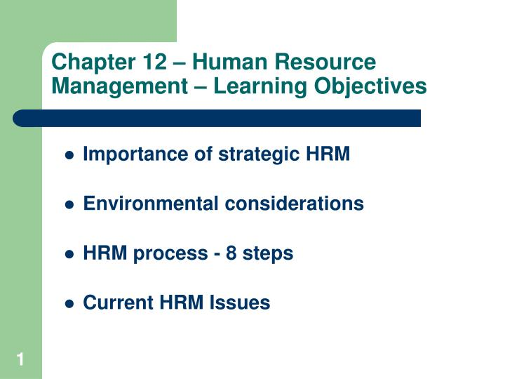 Chapter 12 human resource management learning objectives