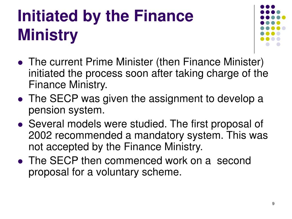 Initiated by the Finance Ministry