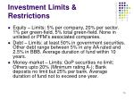 investment limits restrictions