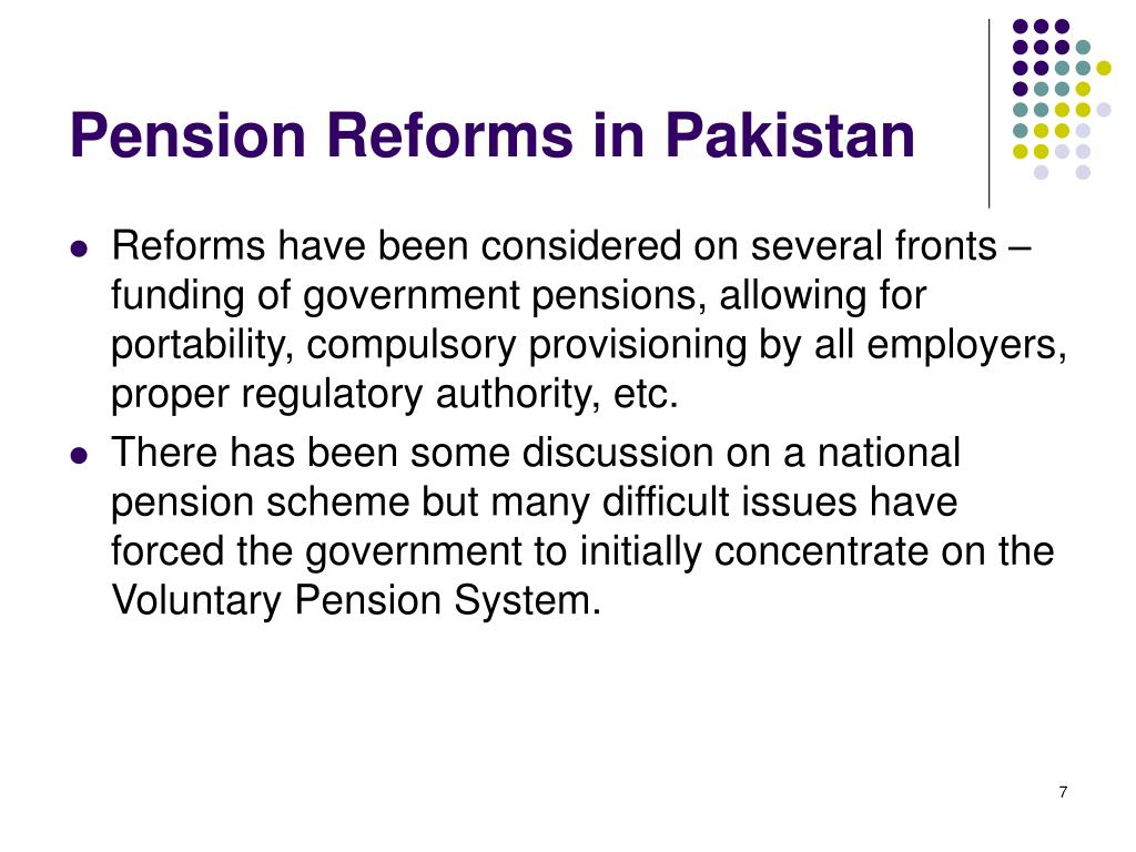 Pension Reforms in Pakistan