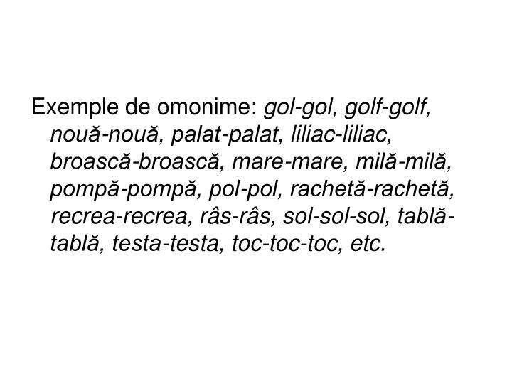 Exemple de omonime: