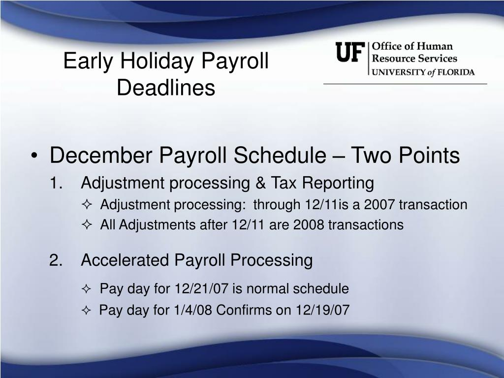 Early Holiday Payroll Deadlines