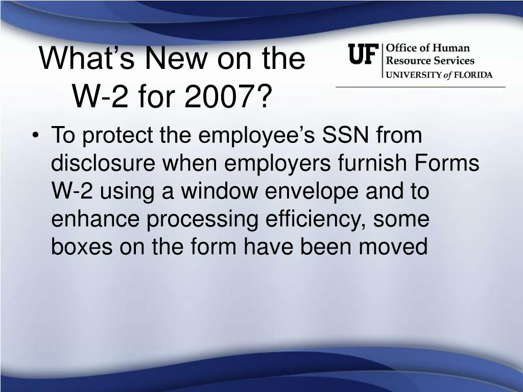 What's New on the W-2 for 2007?
