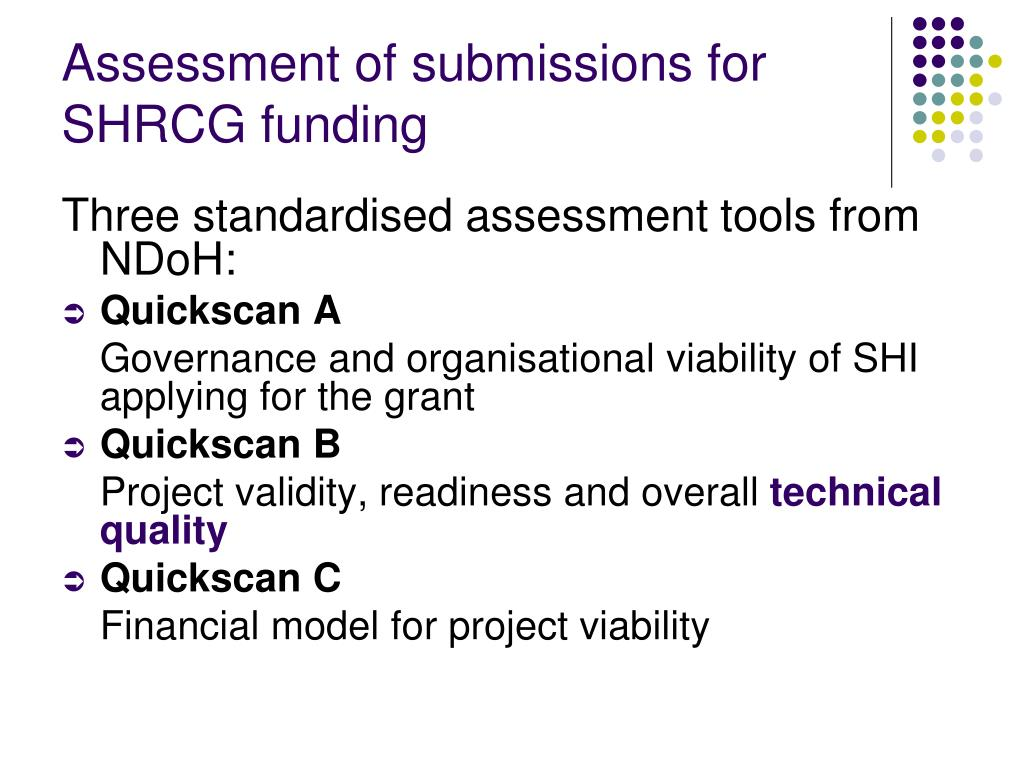 Assessment of submissions for SHRCG funding