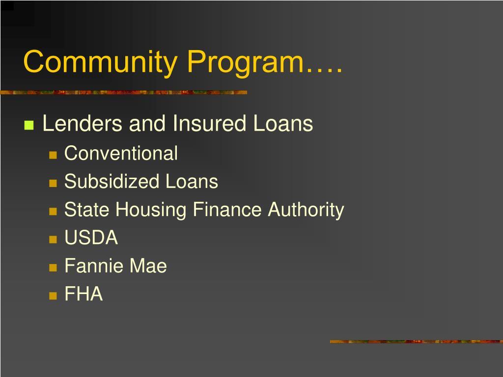 Community Program….