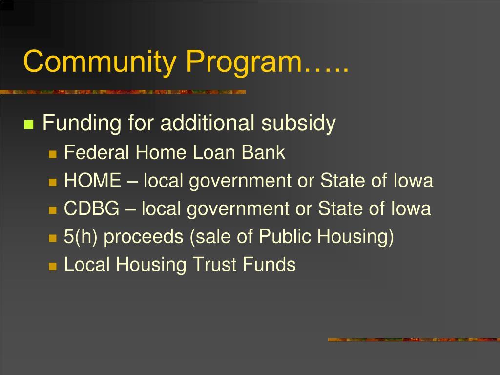Community Program…..
