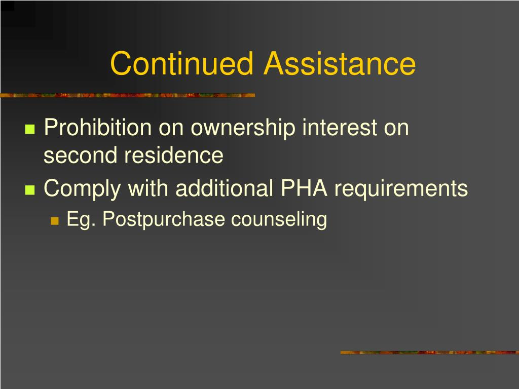 Continued Assistance