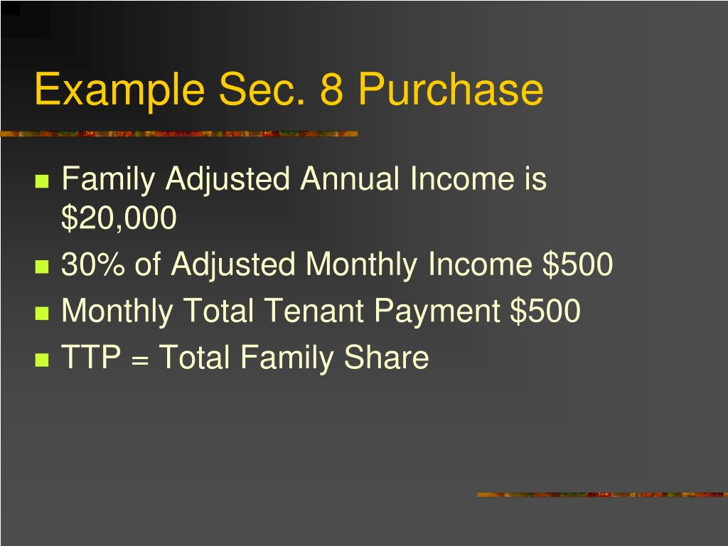 Example Sec. 8 Purchase