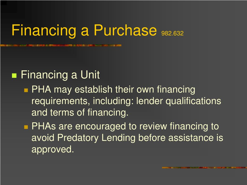 Financing a Purchase