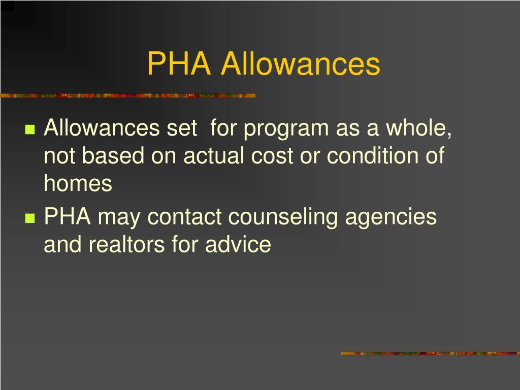 PHA Allowances
