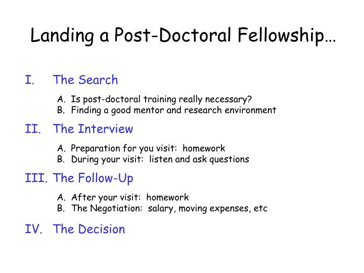 Landing a Post-Doctoral Fellowship…