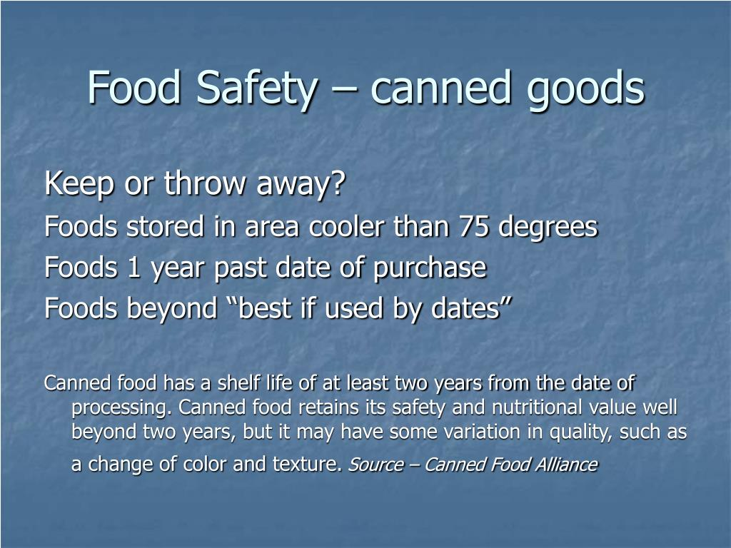 Food Safety – canned goods