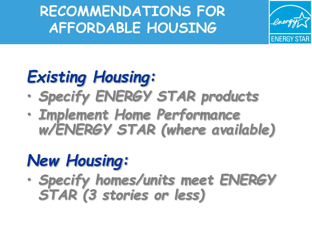 RECOMMENDATIONS FOR AFFORDABLE HOUSING