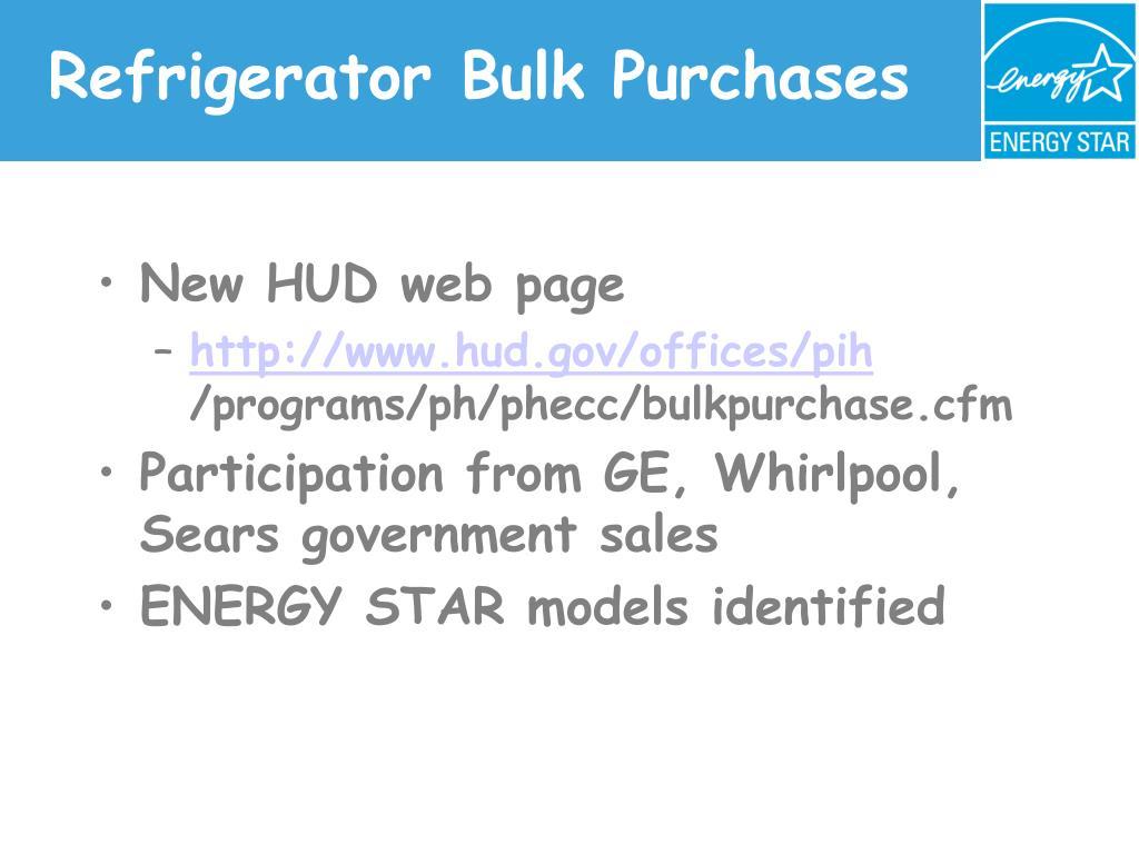 Refrigerator Bulk Purchases