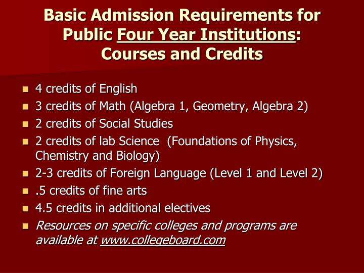 Basic Admission Requirements for Public