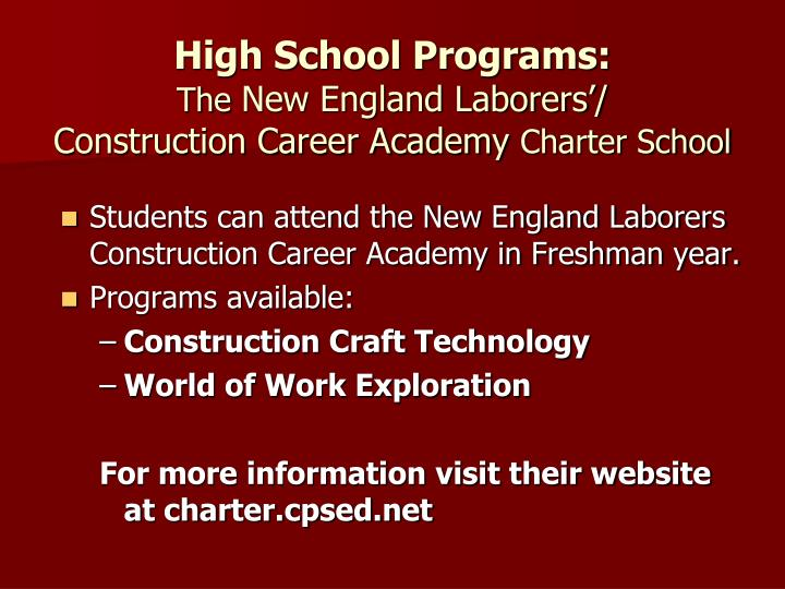 High School Programs: