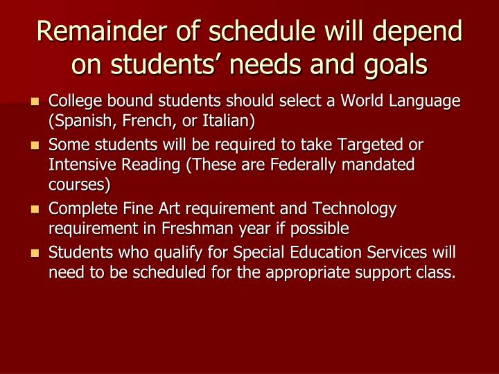 Remainder of schedule will depend on students' needs and goals