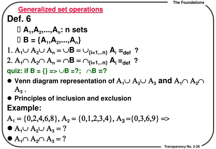 Generalized set operations