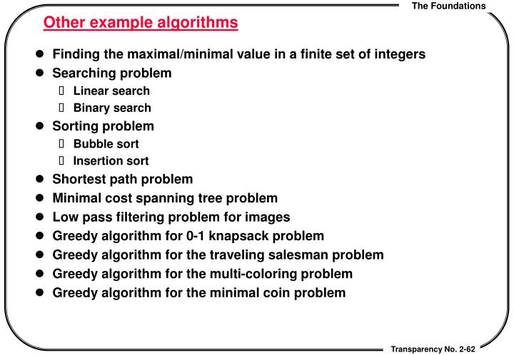 Other example algorithms