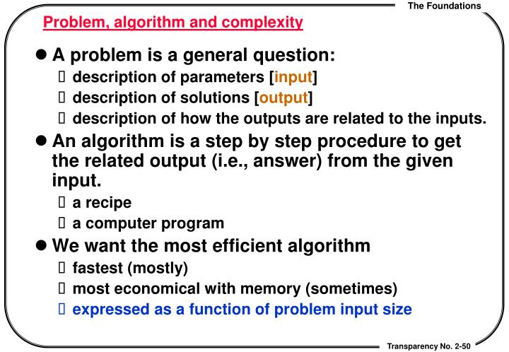 Problem, algorithm and complexity