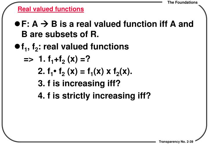 Real valued functions