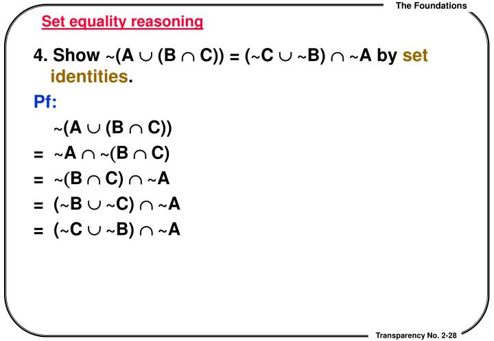 Set equality reasoning
