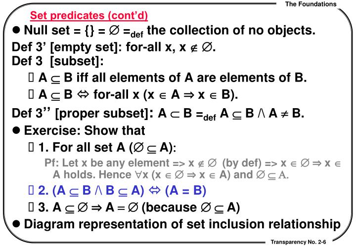 Set predicates (cont'd)