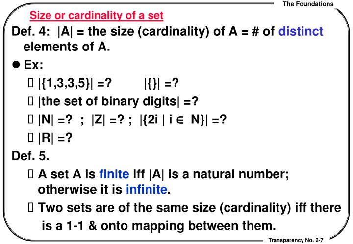 Size or cardinality of a set