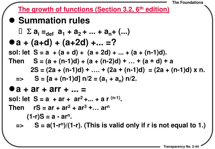The growth of functions (Section 3.2, 6