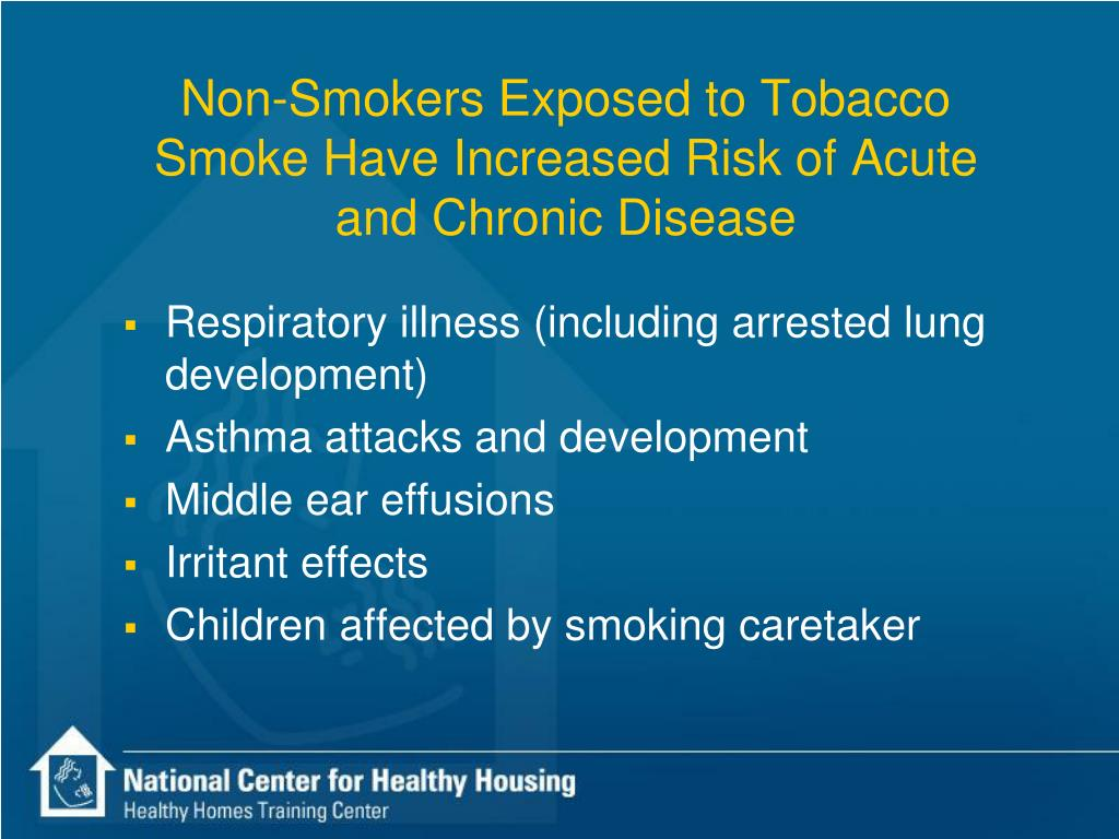 Non-Smokers Exposed to Tobacco Smoke Have Increased Risk of Acute and Chronic Disease