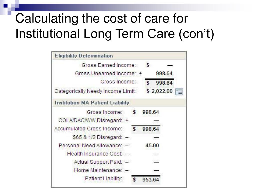 Calculating the cost of care for Institutional Long Term Care (con't)
