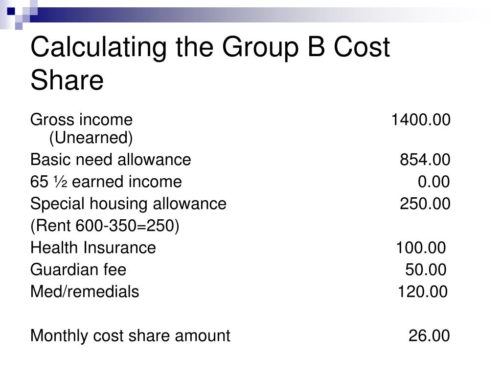 Calculating the Group B Cost Share