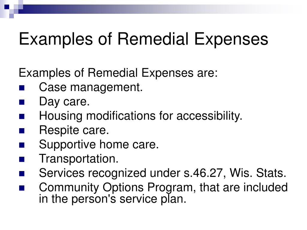 Examples of Remedial Expenses