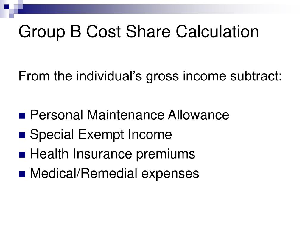 Group B Cost Share Calculation
