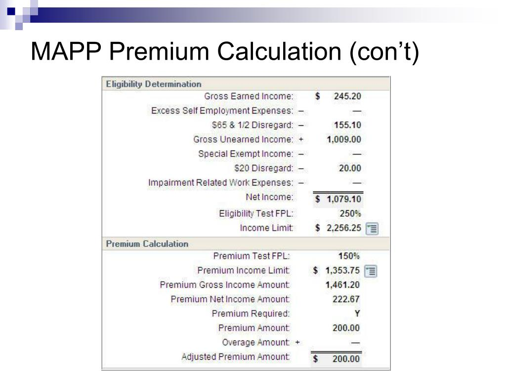 MAPP Premium Calculation (con't)