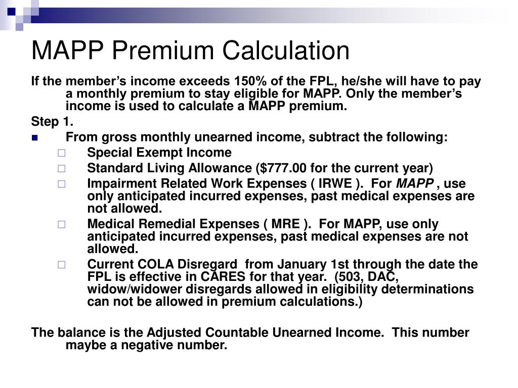 MAPP Premium Calculation