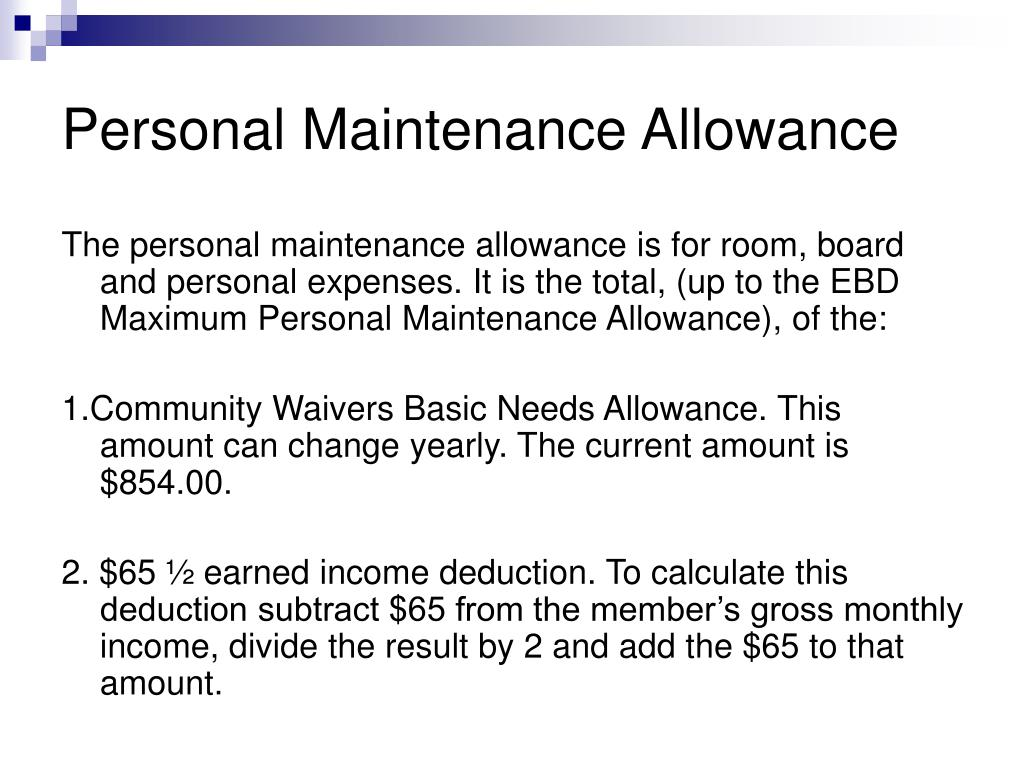 Personal Maintenance Allowance