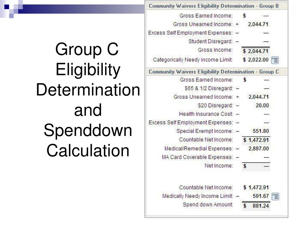 Group C Eligibility Determination and Spenddown Calculation