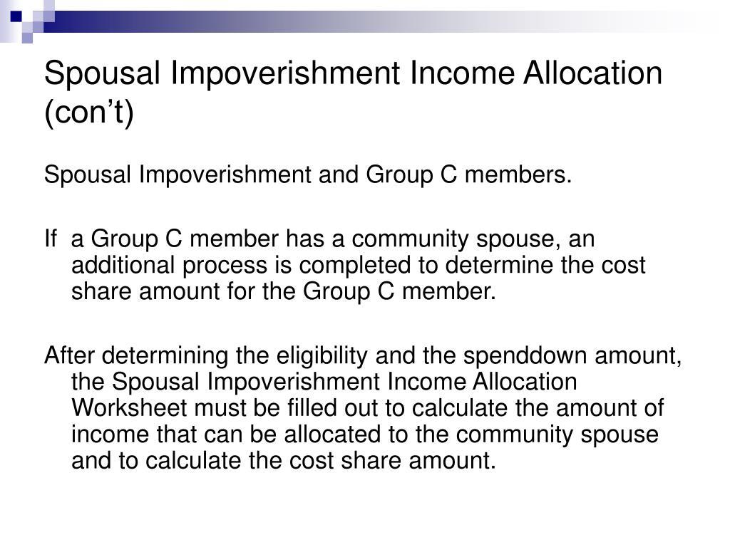 Spousal Impoverishment Income Allocation (con't)