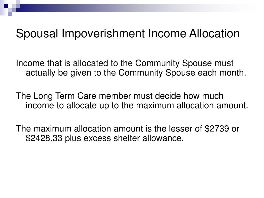 Spousal Impoverishment Income Allocation