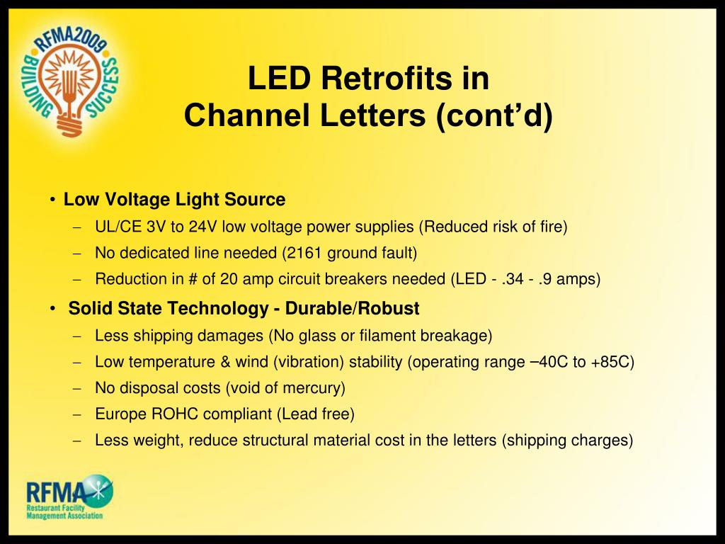 LED Retrofits in Channel Letters (cont'd)