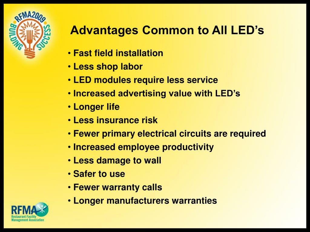 Advantages Common to All LED's